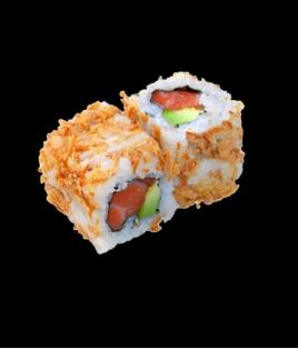 Croquant oignons frit saumon avocat